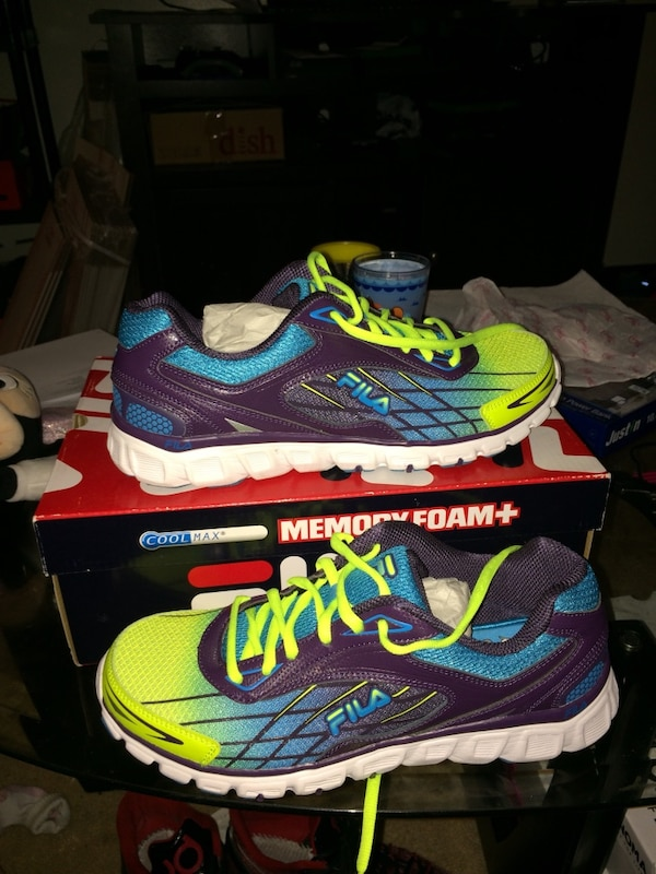 548d19e6843b Used pair of purple-blue-white-and-green Fila running shoes with box for  sale in New York - letgo