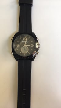 Round black chronograph watch with black strap Portland, 97217