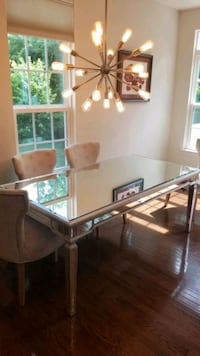 "72"" Mirrored Glass Dining Table with Silver Trim Washington, 20018"