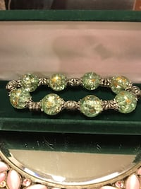 Pretty! Silver Stretch Bracelet with Green Bead Stones Gainesville, 20155