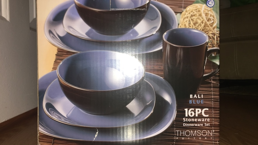 Used 16-pcs brown and blue Thomson dinnerware set box in Winter Garden - letgo & Used 16-pcs brown and blue Thomson dinnerware set box in Winter ...