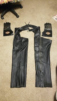 black leather cowboy chaps with gloves