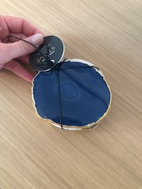 Geode coasters, blue/teal with gold trim. Set of 4 Hampstead, H3X 3L1