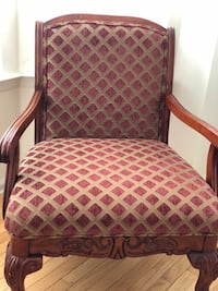 brown wooden framed red padded armchair East Windsor, 08520