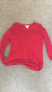 american rag red distressed sweater