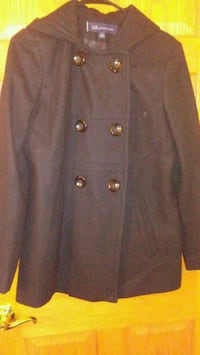 Black Wool Blend Peacoat (Anne Klein)