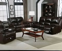 2pc Leather Motion Reclining Sofa/ Love