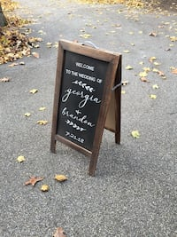 Two-sided chalkboard easel sign, great for weddings