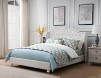 Paradise Diamond Tufted White Queen Platform Bed Houston