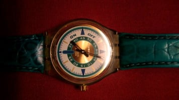 Vintage musical SWATCH with leather stripe!
