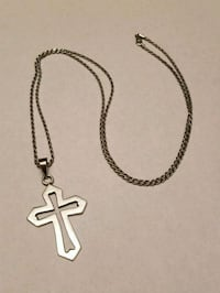 "Solid Sterling Silver 28"" chain with silver cross Lake Stevens, 98258"