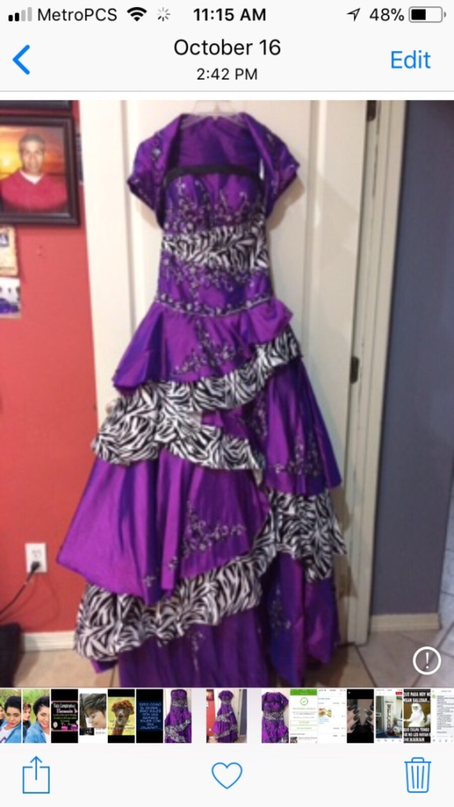 Used Quinceñeea dress $75 size 4 pink & grey dress size small ladies ...