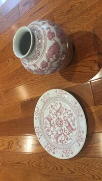 white and pink floral ceramic vase with plate