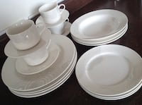 White ceramic plates and bowls (4dinner plates,cups,saucers; 3salad plates,soup plates) 3158 km