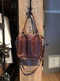 Brown leather book bag