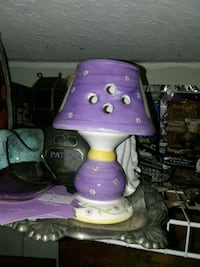 purple and white table lamp
