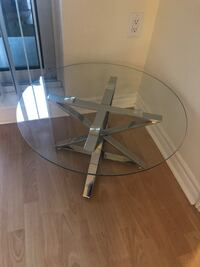 "14"" Modern SIDE table glass metal noooo dining table"