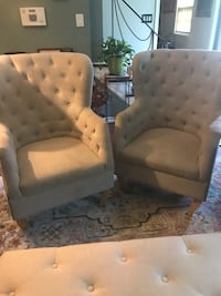 two white leather sofa chairs Fort Washington, 20744
