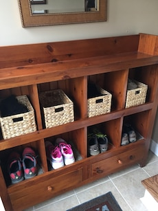 """Solid wood storage unit, 8 cubbies, 2drawers.  Baskets not included. 48""""x 45""""x 12"""