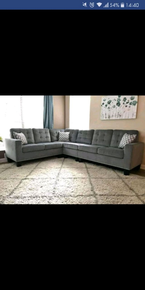 Used gray sectional couch with text overlay for sale in Austin - letgo