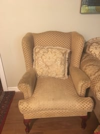 brown and white fabric sofa chair London, N5Z 3V8