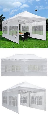 New $190 Heavy-Duty 10x20 Ft Outdoor Ez Pop Up Party Tent Patio Canopy w/Bag & 6 Sidewalls, White Alhambra