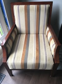 brown and white striped fabric sofa chair 519 km