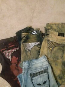 two blue and brown denim jeans sz 40