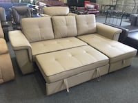Light brown pull out sofa bed with storage chase sample clearance  多伦多