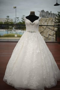 Pre-loved full lace beaded wedding ball gown