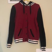 F21 Button Up Varsity Style Hoodie (Maroon) Norton, 02766
