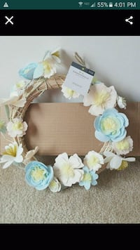 New Happy Easter golden banner and Spring wreath  $15
