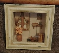 brown wooden framed painting of brown and white flowers Laval, H7X 3M2