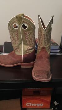 pair of brown-and-green leather cowboy boots