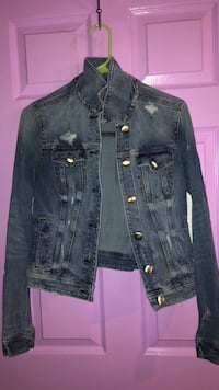Blue denim button up jacket