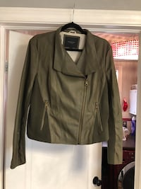 Leather Green Jacket with Zipper Detail Bolton, L7E 2J6