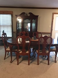 Rectangular brown wooden table with six chairs dining set Chesapeake, 23323