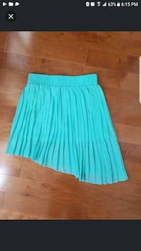 Tobi Asymmetrical Pleated Teal Skirt Toronto, M5G