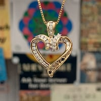 Genuine 10k Yellow Gold Diamond Heart Pendant with 14k Gold Chain Ashburn