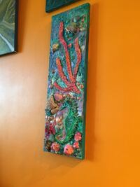 3D Art. Acrylic paste and paint. Natural corals and shells
