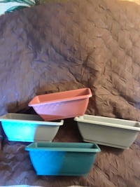 4 plastic flower boxes