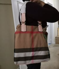 Beautiful  check canvas tote with pouch Mississauga, L4Z 4K5