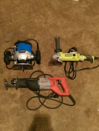 assorted-color power tools