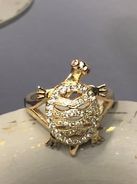 18k GPL Turtle Ring Size 7,8