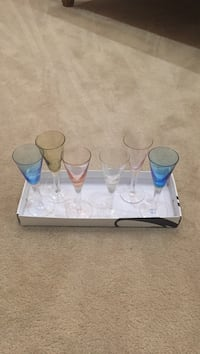 Set of Six Colored Cordial Glasses