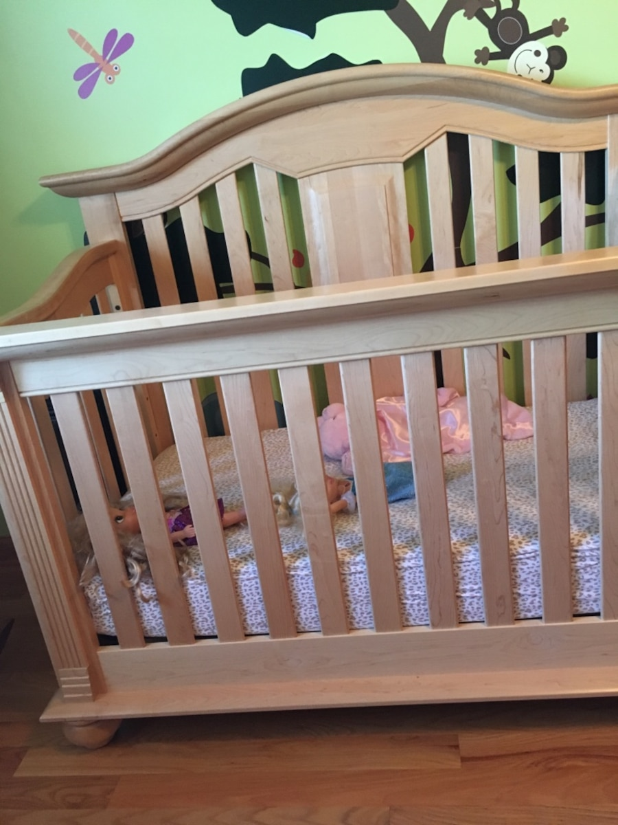 Two solid maple wooden convertible cribs - IL