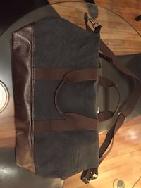 black and gray leather crossbody bag Montreal, H3E