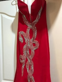red and gold floral long-sleeved dress Burnaby, V3N 2S4