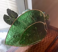 Set of green glass leave platters with gold edges. Edmonton, T5Y 3E8
