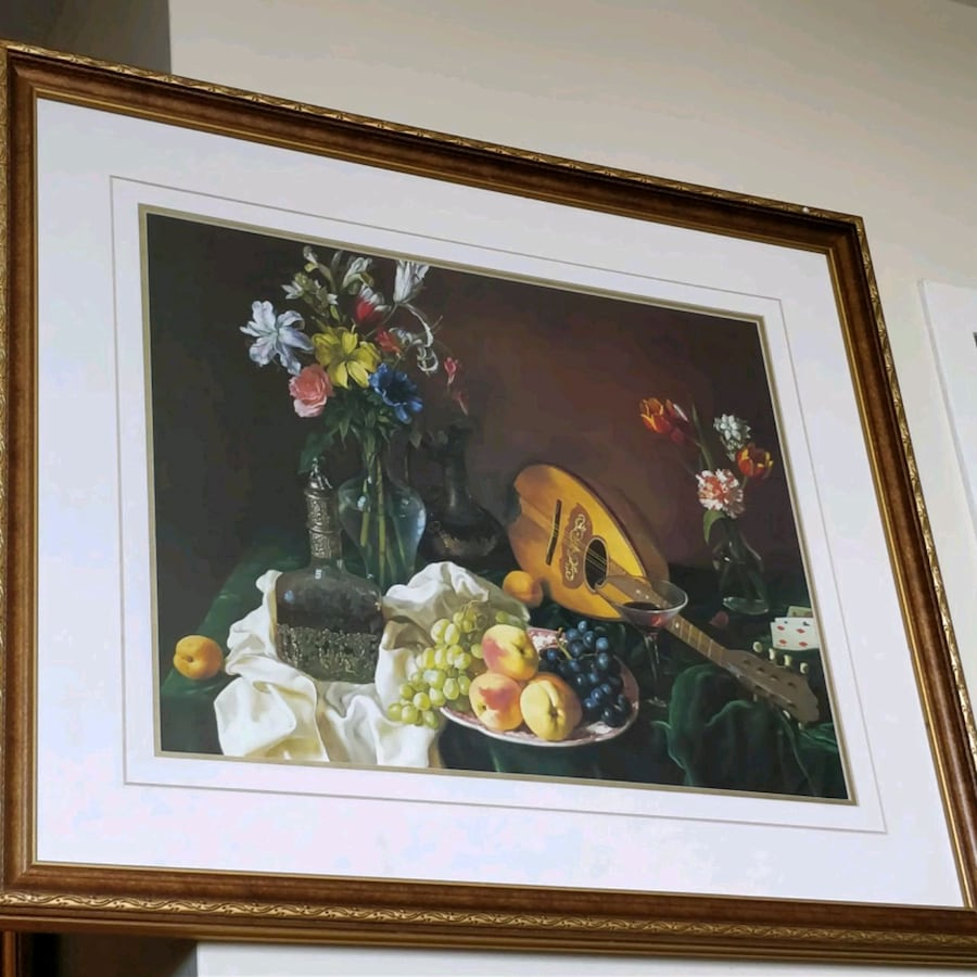 Large Still life picture in wood gold gilt frame